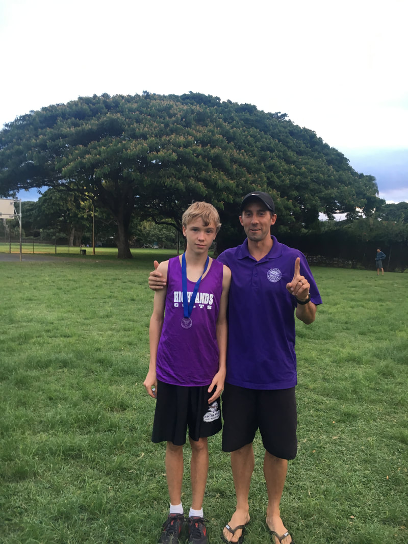 Coach Karwiel and Alec, first place